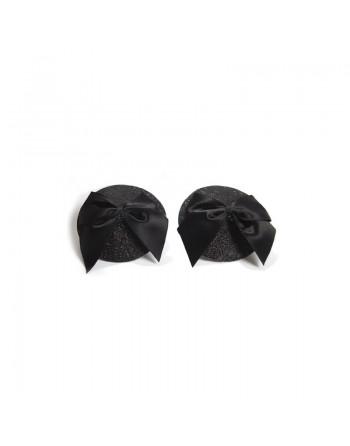 Cache-tétons Burlesque Noeud  Paillettes - Noir