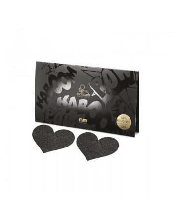Flash - Cache-tétons Coeur noirs